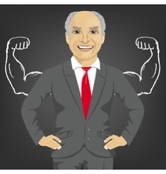 Senior businessman with depicted muscles vector