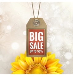 Sunflower on autumn foliage with sale tag eps 10 vector