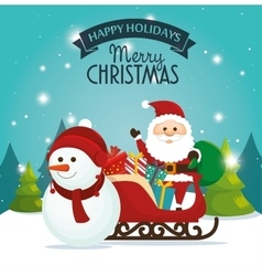 Beautiful card happy holidays xmas santa snowman vector