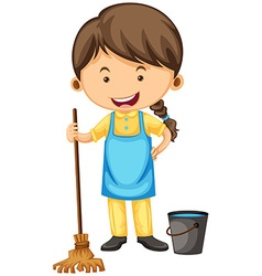 Female cleaner with broom and bucket vector