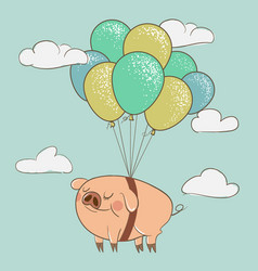 Cute pig flying with balloons vector