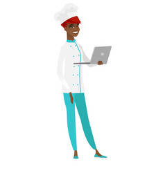 chef cook using laptop vector image