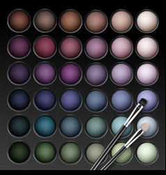 Eye shadows palette with makeup brush vector