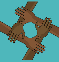 Campaign freedom hand together anti racist vector