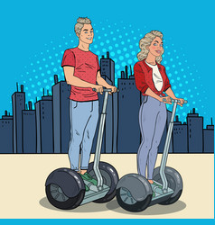 Pop art young man and woman riding segway vector