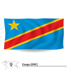 Flag of democratic republic of the congo vector