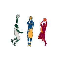 Basketball player shooting retro collection vector