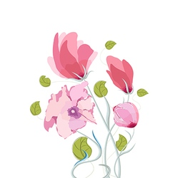 Beautiful summer flowers watercolor vector