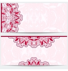 Greeting card with a pink floral pattern gentle vector