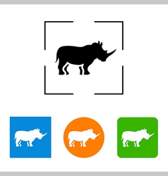 Simple icon silhouette of a rhinoceros vector
