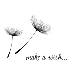 Make a wish card with dandelion fluff vector