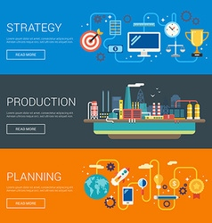 Strategy Production Planning Flat Design Concepts vector image