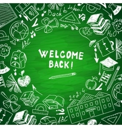 Welcome to school freehand drawing school subjects vector