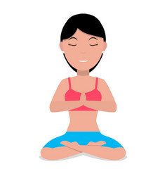 a cartoon girl doing yoga vector image vector image