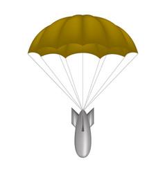 Bomb at brown parachute vector