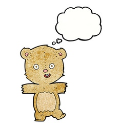 Cartoon dancing teddy bear with thought bubble vector