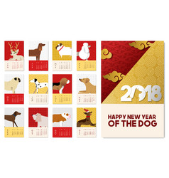 Chinese new year 2018 dog calendar template vector