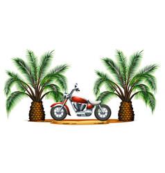 Classic motorcycle in garden vector