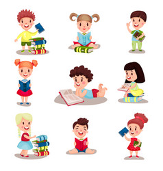 Cute smart boys and girls reading books set of vector