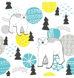 Endless pattern with winter forest and white bears vector image vector image