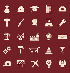 Engineering color icons on red background vector