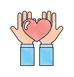 Hand human with heart love vector