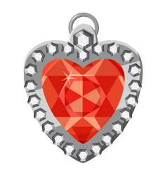 Heart shaped pendant icon cartoon style vector