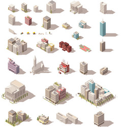 isometric low poly buildings set vector image vector image
