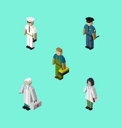 Isometric people set of medic officer plumber vector