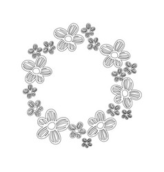 line circle rustic flowers with petals decoration vector image vector image