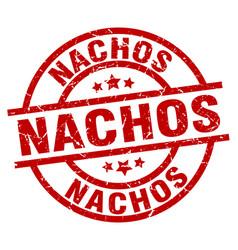 nachos round red grunge stamp vector image vector image