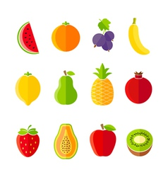 Organic fresh fruits and berries icons set vector image vector image