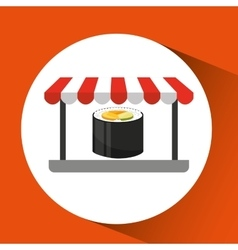 Payment credit card delivery food fresh sushi vector