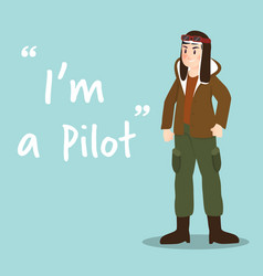 Pilot character on sky blue background flat design vector