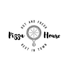pizza lettering best in town vector image