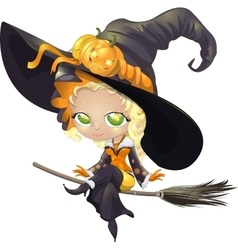 pretty witch on a broom vector image vector image