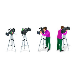 Professional digital video camera and cameraman vector