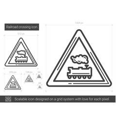Railroad crossing line icon vector