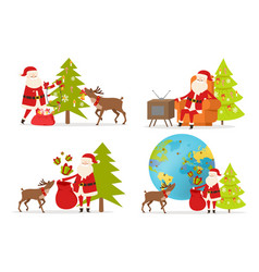 Santa claus and big reindeer on white background vector
