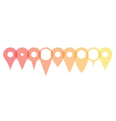 set of various map pointers arranged in a row vector image