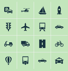 Transport icons set collection of railroad vector