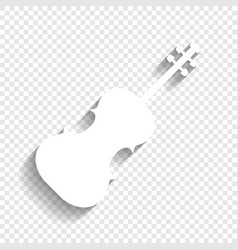 Violin sign white icon with vector
