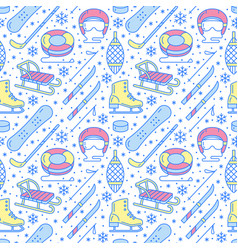 winter sports blue seamless pattern equipment vector image vector image