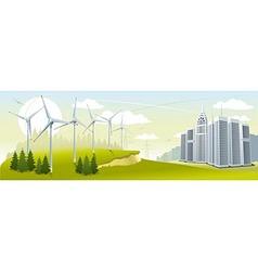 Wind turbine park vector image