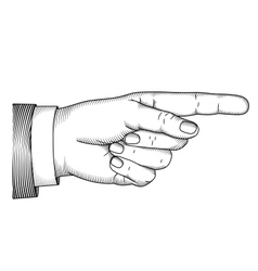 Hand with pointing finger woodcut vector