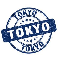 Tokyo blue grunge round vintage rubber stamp vector