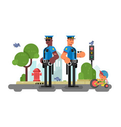 police patrol officer on city street vector image