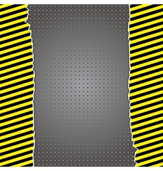 Metallic background with warning stripes vector