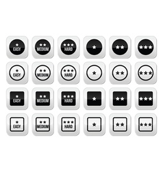 Easy medium hard level with stars buttons set vector