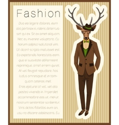 Fashion dressed up deer vector